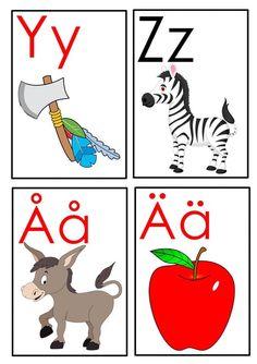Learn Swedish, Educational Activities For Kids, Kids Education, Montessori, Preschool, Teacher, Lettering, Humor, Alphabet