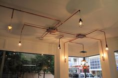 ZOP Cafe, Adana, 2015 - Damla Demircioğlu. Copper pipework for lighting