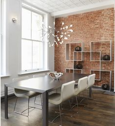 Amazing brick wall focusing dining space