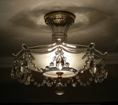 Vintage 1930's Antique Victorian BEADED CRYSTAL Glass Ceiling Light Chandelier