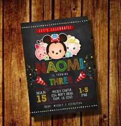 Tsum Tsum party Tsum Invitation Disney by FancymyCupcakeTopper