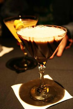 Sinful Chocolate Martini    Ingredients:    1/2 oz Vanilla vodka    1/2 oz Kahlua    1/2 oz Baileys Irish Cream    1/2 oz dark Creme de Cacao    1/2 oz Godiva Chocolate Liqueur    1/2 oz Half & Half    Powdered chocolate    Chocolate shavings    Rim the martini glass with powdered chocolate.    Combine all the ingredients in a cocktail shaker with ice. Shake well.    Strain and pour into a martini glass. Garnish with chocolate shavings