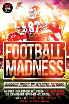 Football Madness Flyer Template - http://xtremeflyers.com/football-madness-flyer-template/ Football Madness Flyer Template PSD was designed to advertise an important football match that you want to show in your club / bar / pub.  #Bar, #Club, #Flyer, #Football, #Madness, #Poster, #Psd, #Pub, #Sport, #Template