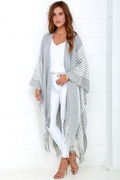 Chic Ivory and Grey Striped Poncho - Poncho - Fringe Poncho - $68.00