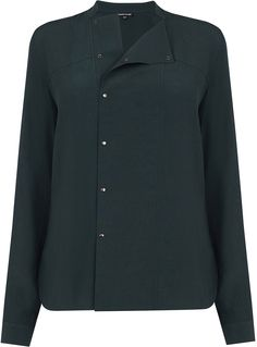 Womens pine green popper front shirt from Warehouse - £42 at ClothingByColour.com