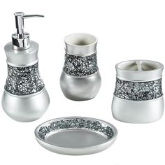 A crackled glass band lines the toothbrush holder, tumbler, soap dish and lotion/soap dispenser of this bath accessory set to brighten your bathroom decor. Crafted with resin, these lovely accessories are finished in sleek brushed nickel.