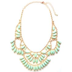 CRYSTAL DROPLETS STATEMENT NECKLACE IN MINT