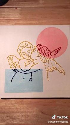 Diy Crafts Hacks, Diys, Ideias Diy, Diy Canvas Art, Aesthetic Art, Embroidery Art, Diy Art, Diy Wall Art, Wall Decor