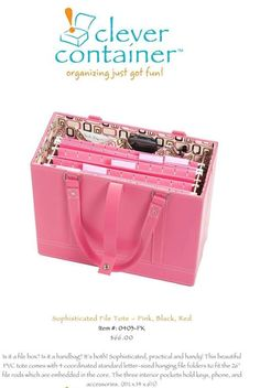 Final days to order the Pink Sophisticated File Tote! Shipping is 7.95 and the tote sells for $66. The quality is exceptional and will be a professional addition to your direct sales business! Online shopping is available at http://mycleverbiz.com/cleverjulie.