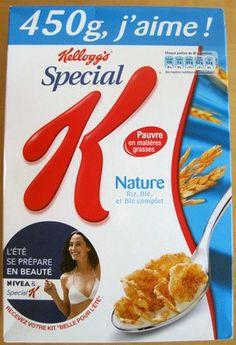 Les composants Le contenant : carton + sachet avec les céréales = forme classique. Le décor : couleur bleu est liée à la sagesse, sérénité et fraicheur.  Sur la droite, la courbe représente une courbe du corps féminin et le fait que Special K s'associe avec la marque Nivea sont des preuves que Special K veille au bien-être et à la santé des consommatrices. De plus, les images de blé font référence à la nature et à un produit sain.