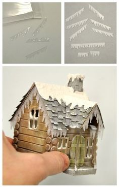 Paper house log cabin snow on eaves. Make fake snow dust with white paint and saw dust. Glitter houses and Putz houses. Christmas Projects, Christmas Home, Holiday Crafts, Miniature Christmas, Christmas Christmas, Decoration St Valentin, Putz Houses, Mini Houses, Fairy Houses