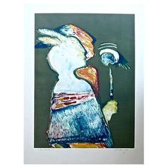 Original one of a kind color monotype titled, The Chanters I. Signed lower right by Nampeyo, a Native American artist, dated 1983, and titled lower left. Unframed.    Image 23.5L x 17.5W.