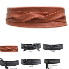 """Leather wrap belt 3"""" thick and 90"""" long genuine leather wrap belt. One belt can be worn 6+ ways. Can fit most body types and sizes. Never been worn and as seen in the picture has a worn leather looks- scratches/ discoloration a natural to leather due to its texture. It's super soft leather but has stable structure. ADAcollection website shows the different ways to wear it ADA Accessories Belts"""
