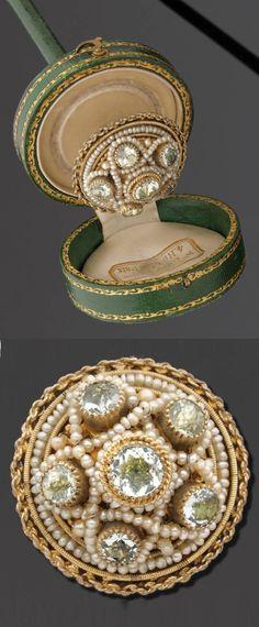 """A superb antique vermeil, chrysoberyl and seed pearl hat pin, about 1910. 21.5cm diameter. Accompanied by a case signed """"Au Vieux Paris"""" 4, rue de la Paix. #antique #HatPin"""