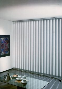 Decor: Snazzy White Fabric Levolor Vertical Blinds On Brown Wall Paint Plus White Fur Rug And Cool Chairs Also Stainless Glass Top Table For Home Interior Design Blinds For Windows, House Design, Cool Curtains, Blinds, Window Roller Shades, Vertical Blinds Makeover, Wood Window Treatments, Cool Chairs, Brown Walls