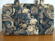 Black Tan Roses Gold Brown Quilted Purse by RoxannasBags on Etsy, $40.00