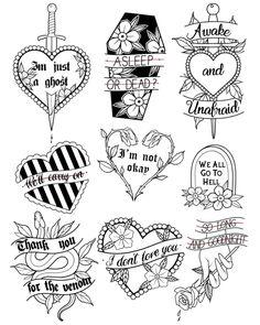 Tattoos And Body Art flash tattoo Flash Art Tattoos, Tattoo Flash Sheet, Body Art Tattoos, Small Tattoos, Emo Tattoos, White Tattoos, Ankle Tattoos, Arrow Tattoos, Word Tattoos