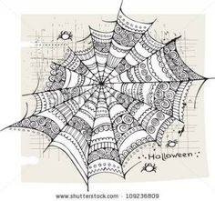 Fun idea for a Zentangle string - Stock image Halloween spider web background Tangle Doodle, Tangle Art, Zen Doodle, Doodle Art, Zentangle Drawings, Doodles Zentangles, Doodle Drawings, Doodle Patterns, Zentangle Patterns