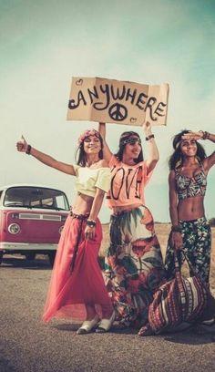 Happy hippie girls bohemian style fashion