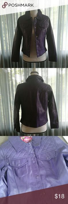 "Purple Dollhouse faux leather jacket Juniors very gently pre loved purple Dollhouse faux leather button front jacket with quilted detail on back and shoulders. 2 front button breast pockets. Missing one button on left cuff. Please see pictures for more details. This jacket is a girls size XL-16, but fits a juniors small to medium. Measurements SS 16"" Chest 18"" length 21"" sleeve 22"". Thanks for looking! Bundle to save!! Dollhouse Jackets & Coats"