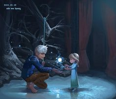 Jack Frost and Queen Elsa. I have not seen the jack frost movie yet. I need to see it.