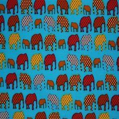 Child Fabric – Elephant Aqua