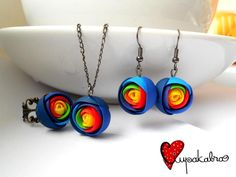 rainbow rose earrings, necklace, and ring fimo sculpey polymer clay