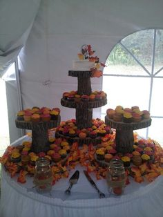 Fall wedding cake. Surrounded by tree slices, pinecones, acorns and leafs.