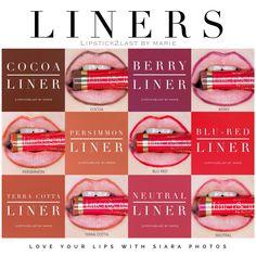 LipSense lip liner. LinerSense colors. Lip liner collage