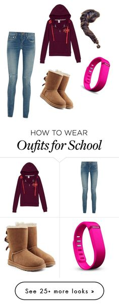 School day by jeniffer-lynn on Polyvore featuring Yves Saint Laurent, Victorias Secret, UGG Australia, Fitbit, womens clothing, women, female, woman, misses and juniors