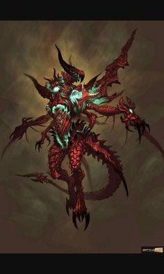 Diablo 3 Artwork: Barbarian, Skeleton King and Snake Monster Angel Demon, Demon Art, Demon Horse, Fantasy Monster, Monster Art, Dark Fantasy Art, Fantasy Artwork, Anime Fantasy, Fantasy Character Design