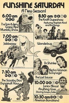 1976 ABC Saturday Mornings - TV Guide line-up ad - I remember a lot of these shows (except the Soupy Sales show leading into Bandstand). Old Cartoons, Classic Cartoons, Retro Cartoons, Animated Cartoons, Vintage Tv, Vintage Cartoon, Vintage Images, Old Tv Shows, Kids Shows