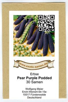 Erbse - lila - blau - Pear Purple Podded (30 Samen)