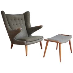 "Hans Wegner ""Papa Bear"" Chair & Ottoman 