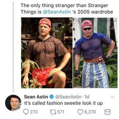 The only thing stranger than Stranger Things is @SeanAstin s 2005 wardrobe Sean Astin e》 @SeanAstin-Id ts called fashion sweetie look it up…