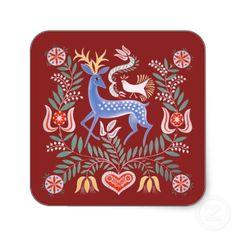 Hungarian Folk Art Square Sticker by ilonagarden