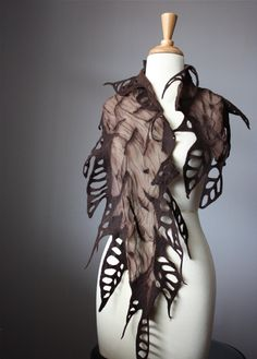 Nuno felted scarf Chocolate / Brown wool silk by VitalTemptation, $73.00