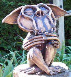 Secret Keeper Secret Keeper, Pottery Sculpture, Garden Sculpture, Outdoor Decor