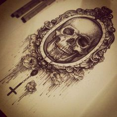 beautiful skull drawing in a victorian style