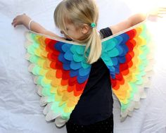 Rainbow Bird Wings Small Costume by sparrowandbcostumery on Etsy