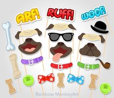 Printable Dog Pug Party Photo Booth Props  by RainbowMonkeyArt                                                                                                                                                                                 More