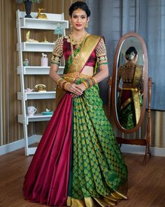 In a maroon and green color pattu / kanjeevaram saree, high neck elbow length sl. - In a maroon and green color pattu / kanjeevaram saree, high neck elbow length sl… – - Lehenga Saree Design, Lehenga Style Saree, Saree Look, Lehenga Designs, Bridal Lehenga, Pattu Sarees Wedding, Lehanga Saree, Lahenga, Wedding Saree Blouse Designs