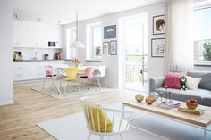 Living room and kitchen. White, bright and colorful Kitchen Dining Living, Dining Bench, Living Room, Interior Decorating, Interior Design, House Colors, Modern, Furniture, Kitchen White