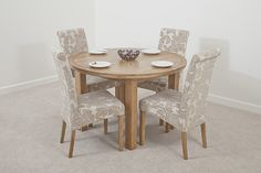 Solid Oak Round Extending Dining Table + 4 Champagne Fabric Dining Chair with Oak Legs Table And Chair Sets, Table Furniture, Round Kitchen Table, Table, Table And Chairs, Dining Room Sets, Fabric Dining Chairs, Dining Chairs, Oak Dining Sets