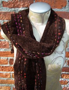 Elegant Handwoven Chenille Scarf with Ribbons by RadicalWeft, $85.00