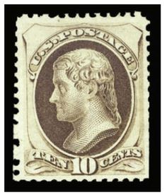 1875 10c pale brown, unused without gum as issued, fresh color, better than average perforations with usual scissors separations, among the finer of the approximately 40 believed to have been issued, signed Colson, with 1948, 1969 and 2008 PFCs --- $15,000.00   2013year