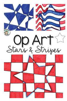 Op Art Stars & Stripes: Patriotic Art Activity Make an op art star for patriotic holidays such as or July, President's Day, Veteran's Day or Flag Day. Step by step instructions makes this an easy art lesson display some stars and stripes! Veterans Day Activities, Art Activities For Kids, Art For Kids, Easy Art Lessons, Art Lessons Elementary, Veterans Day Elementary, Veterans Day Coloring Page, 5th Grade Art, Flag Art