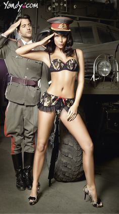 Military Bra and Mini Skirt Costume