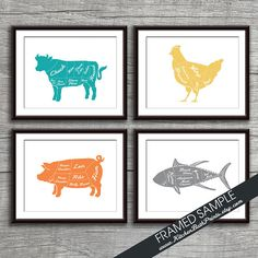 Beef, Chicken, Pork and Tuna (Butcher Diagram Series) - Set of 4 - 8x10 Art Prints (Featured in Assorted Colors) Kitchen Prints