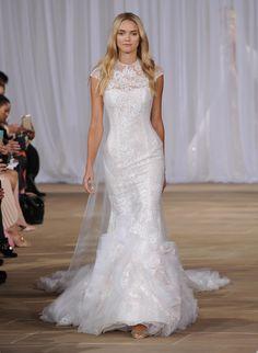 78e2bd6233c7 Ines Di Santo Fall 2016 lace illusion neckline trumpet silhouette wedding  dress